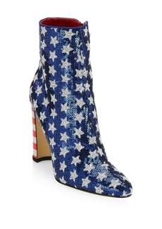 Manolo Blahnik Nancy Americana Sequin Ankle Boots