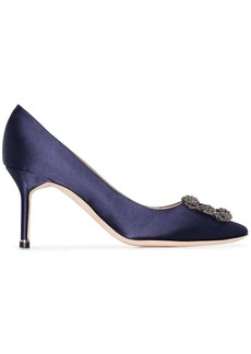 Manolo Blahnik navy Hangisi 70 crystal buckle silk satin pumps