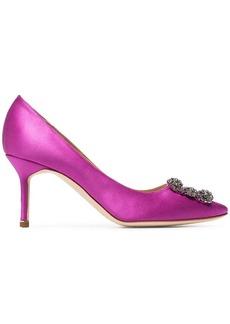 Manolo Blahnik pink Hangisi 70 buckle detail satin shoes