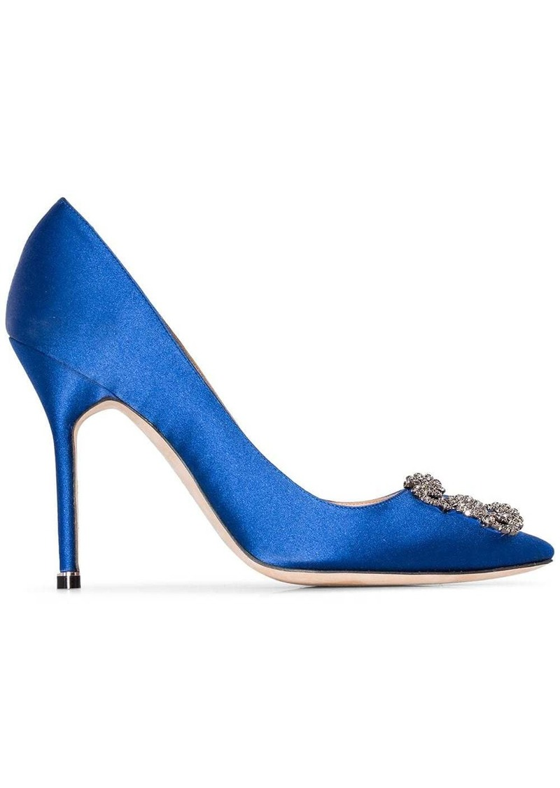 Manolo Blahnik royal blue Hangisi 105 satin pumps