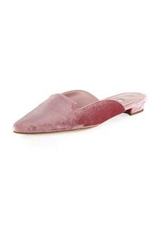 Manolo Blahnik Ruby Velvet Pointed-Toe Mule Flat