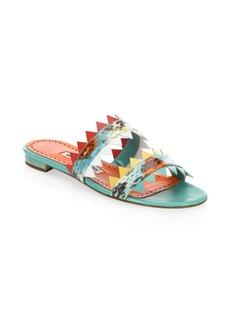 Manolo Blahnik Scalloped-Trim Leather Sandals