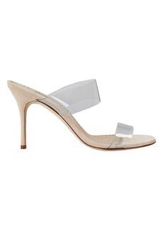 Manolo Blahnik Scolto Suede PVC Strap Sandals