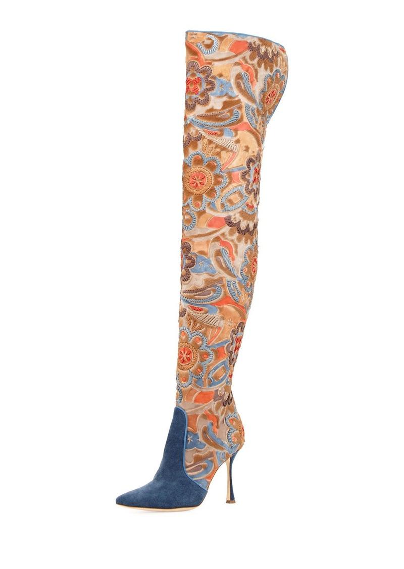Manolo Blahnik Temaquita Floral Over-The-Knee Boot