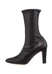 Manolo Blahnik Todi Fitted Leather Ankle Boots