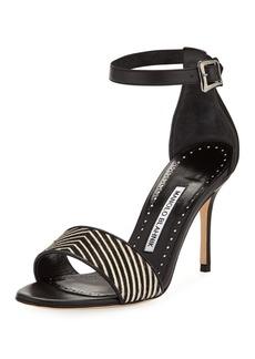 Manolo Blahnik Tresov Pony and Leather Ankle-Strap Sandal