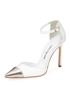 Manolo Blahnik Trova Cap-Toe Leather 105mm Ankle-Wrap Pumps