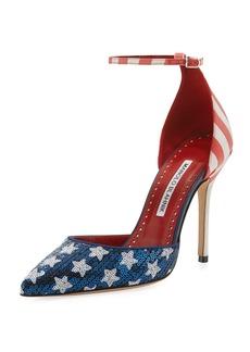 Manolo Blahnik Zaka Stars & Stripes Sequin Ankle-Strap Pump