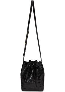 Mansur Gavriel Black Croc Mini Bucket Bag