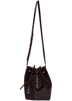 Mansur Gavriel Burgundy Croc Mini Bucket Bag