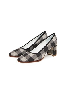 Mansur Gavriel Check Fabric Square-Toe Pump