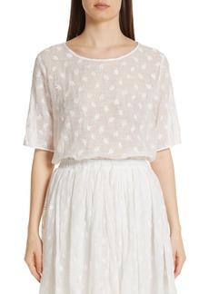 MANSUR GAVRIEL Floral Embroidered Linen Blend Blouse