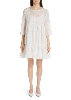 MANSUR GAVRIEL Floral Embroidered Linen Blend Dress