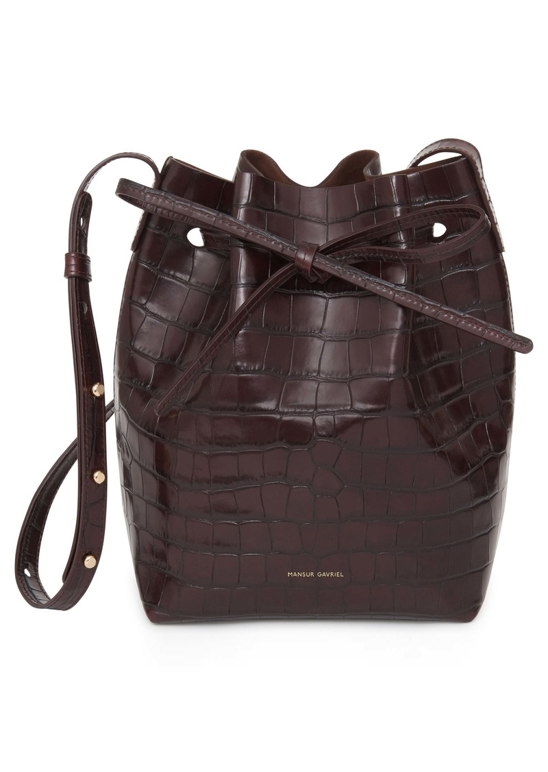 Mansur Gavriel Mini Croc Embossed Leather Bucket Bag