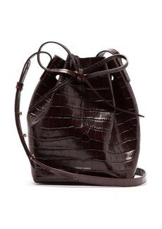 Mansur Gavriel Mini crocodile-effect leather bucket bag