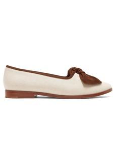 Mansur Gavriel Suede-bow canvas loafers