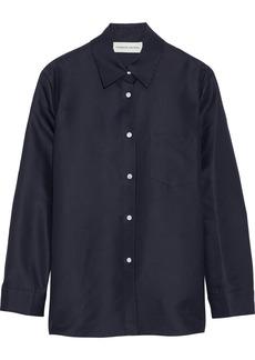 Mansur Gavriel Woman Silk-shantung Shirt Midnight Blue