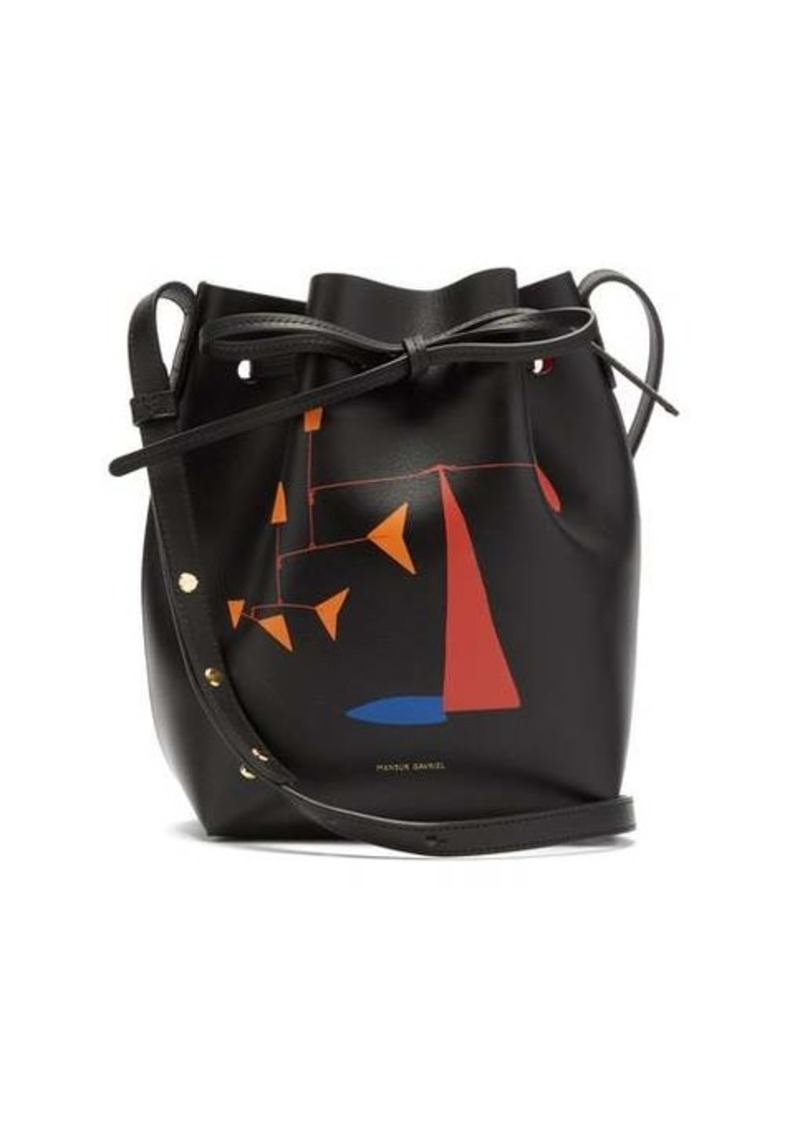 Mansur Gavriel X Calder Mini printed leather bucket bag