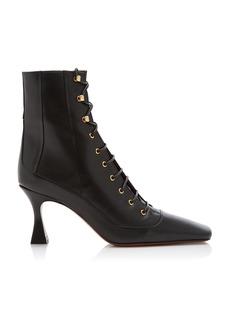 Manu Atelier - Women's Duck Lace-Up Leather Boots - Ivory/black - Moda Operandi