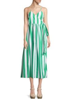 Mara Hoffman Alma Sleeveless Striped Cotton Wrap-Front Maxi Dress