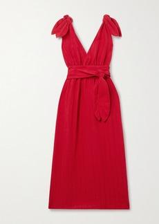 Mara Hoffman Calypso Belted Striped Linen And Tencel Lyocell-blend Midi Dress