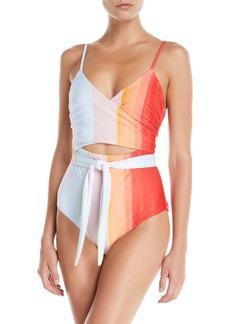 Mara Hoffman Isolde Striped Wraparound One-Piece Swimsuit