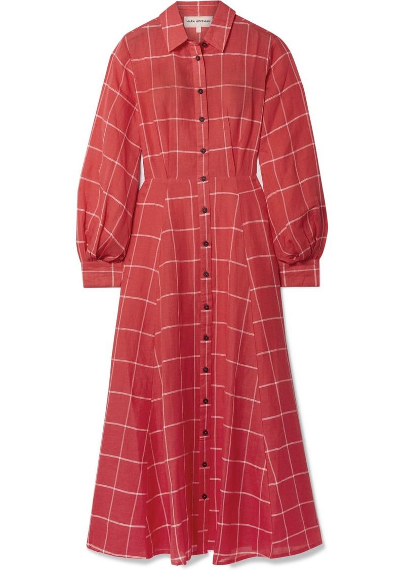 Mara Hoffman Liliana Checked Linen And Tencel-blend Midi Dress