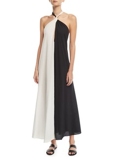 Mara Hoffman Lucille Colorblocked Halter Coverup Dress