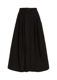 Mara Hoffman - Women's Tulay Pleated Tencel-Linen Maxi Skirt - Black - Moda Operandi
