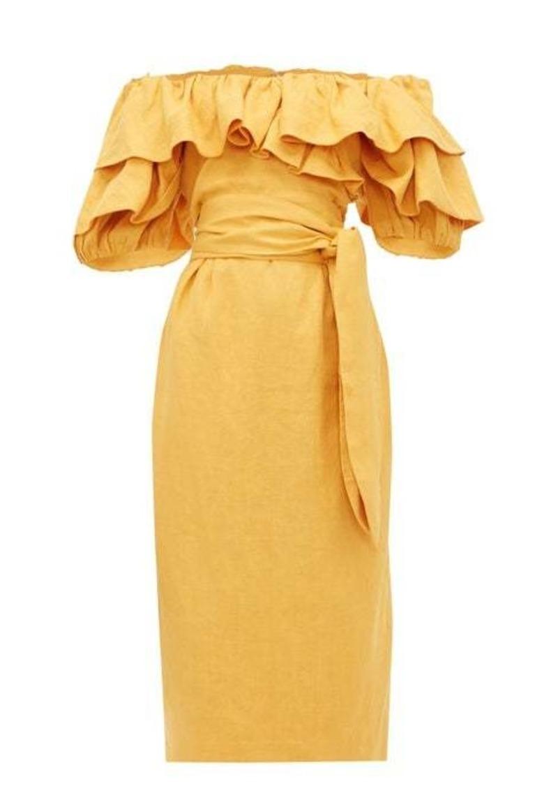 Mara Hoffman Arabella ruffled off-the-shoulder dress