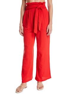 Mara Hoffman Arianna Paperbag-Waist Wide-Leg Cotton Gauze Pants