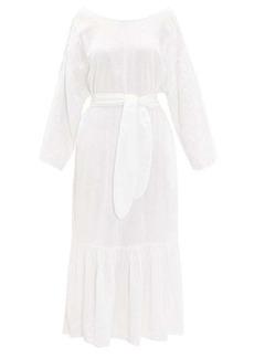 Mara Hoffman Augusta ruffle-hem belted cotton dress