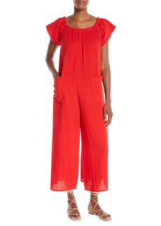 Mara Hoffman Plus Size Blanche Wide-Leg Organic-Cotton Jumpsuit Coverup