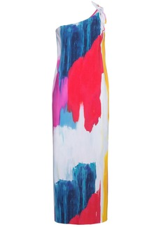 Mara Hoffman Clara one-shoulder midi abstract print dress - Pink &