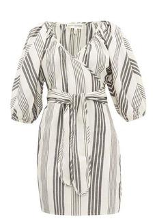 Mara Hoffman Coletta stripe-jacquard Tencel-blend wrap dress