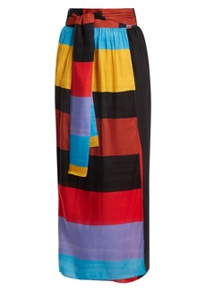 Mara Hoffman Cora tie-waist striped wrap skirt