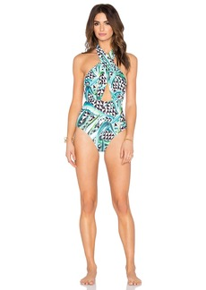 Mara Hoffman Cross Front Halter Swimsuit