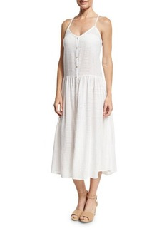 Mara Hoffman Drop Waist Button-Front Organic Cotton Sundress