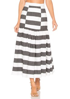 Mara Hoffman Drop Waist Midi Skirt in Black & White. - size 0 (also in 2,4)