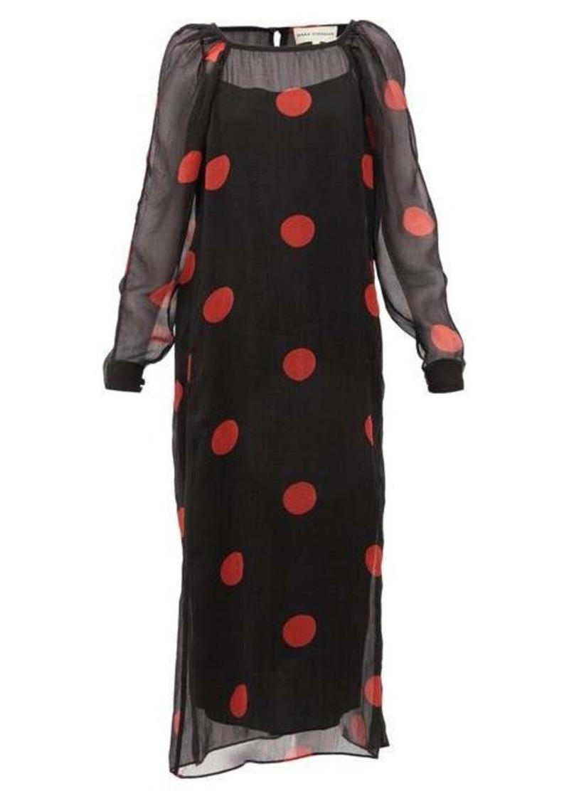 Mara Hoffman Elisabetta polka-dot crepon midi dress