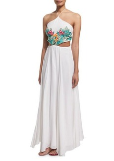 Mara Hoffman Embroidered-Leaf Cutout Maxi Dress