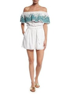 Mara Hoffman Embroidered Off-the-Shoulder Romper