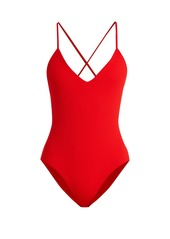 Mara Hoffman Emma V-neck ribbed swimsuit