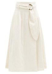 Mara Hoffman Esperanza belted organic cotton-blend midi skirt