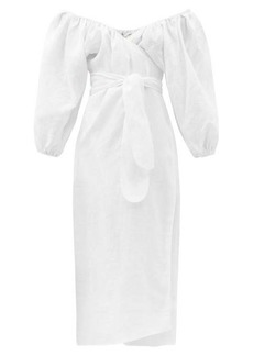 Mara Hoffman Fila off-the-shoulder linen wrap dress
