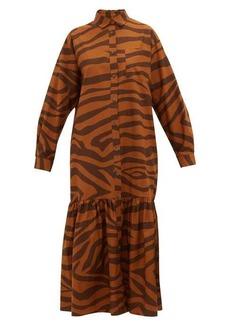 Mara Hoffman Freda tiger-print ruffle-hem cotton maxi dress