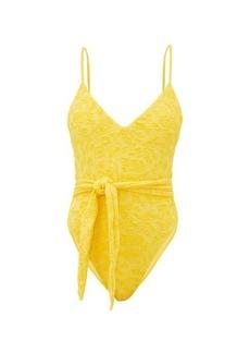 Mara Hoffman Gamela tie-front seersucker swimsuit
