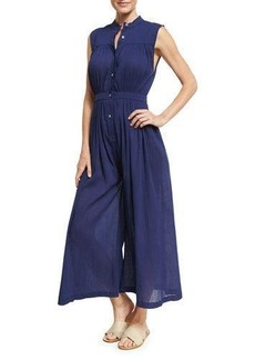 Mara Hoffman Gathered Wide-Leg Organic Cotton Coverup Jumpsuit