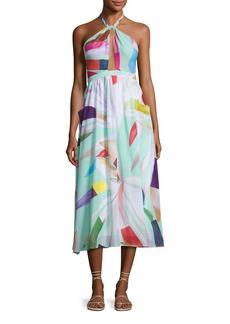 Mara Hoffman Halter Printed Organic Cotton Coverup Midi Dress