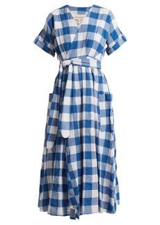 Mara Hoffman Ingrid gingham crinkled-cotton wrap dress